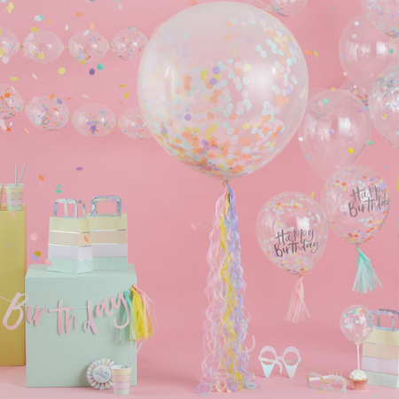 Picture of Ginger Ray® Matte Pink Happy Birthday Balloon Bunting Pastel Party