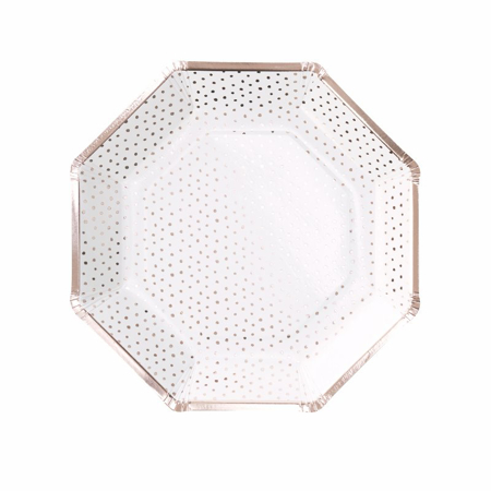 Ginger Ray® Rose Gold Foiled Spotty Paper Plate Pick & Mix