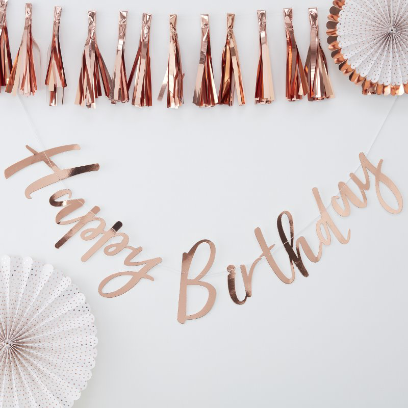 Picture of Ginger Ray® Rose Gold Happy Birthday Bunting Pick & Mix
