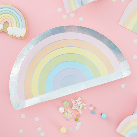 Picture of Ginger Ray® Pastel & Iridescent Rainbow Paper Plate Pastel Party