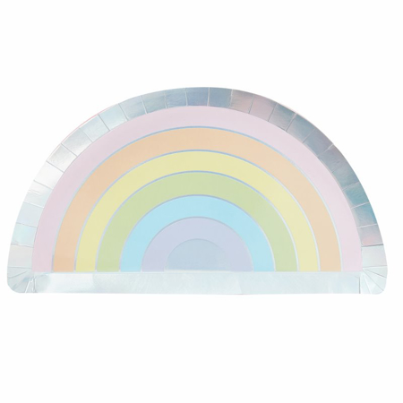 Ginger Ray® Pastel & Iridescent Rainbow Paper Plate Pastel Party
