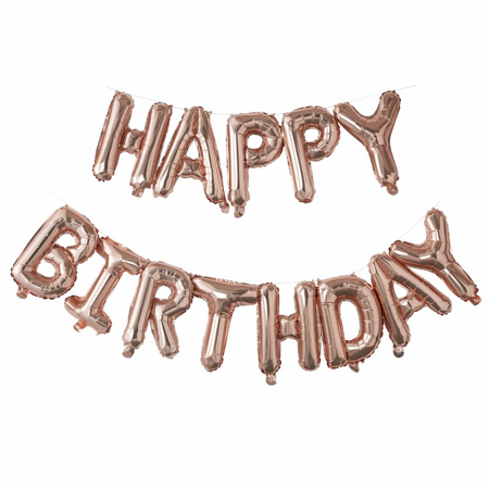 Picture of Ginger Ray® Rose Gold Happy Birthday Balloon Bunting Pick & Mix