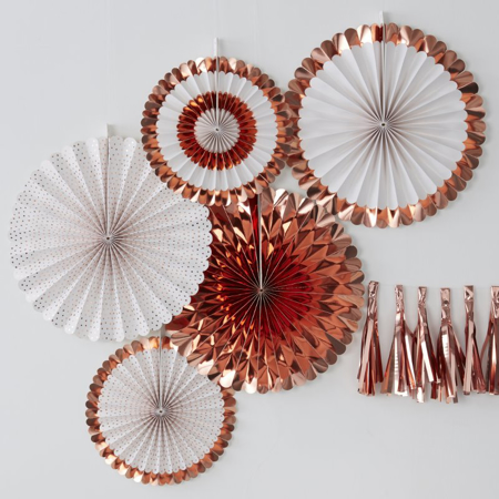 Picture of Ginger Ray® Rose Gold Fan Decorations Pick & Mix