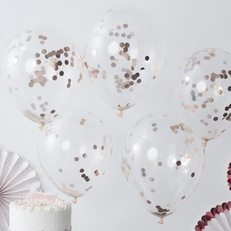 Picture of Ginger Ray® Rose Gold Confetti Balloons Pick & Mix