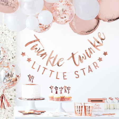 Picture of Ginger Ray® Rose Gold Paper Napkins Twinkle Twinkle