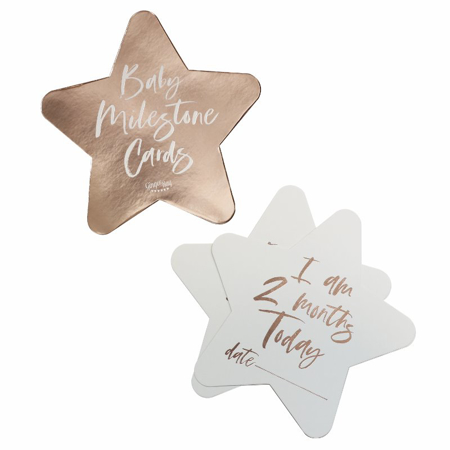 Picture of Ginger Ray® Rose Gold Foiled Milestone Cards Twinkle Twinkle