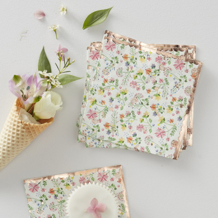 Picture of Ginger Ray® Floral napkins Rose Gold Foiled