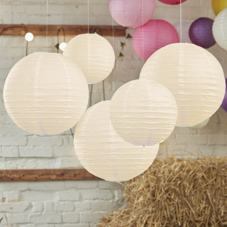Picture of Ginger Ray®  Ivory Paper Lantern Decorations Boho