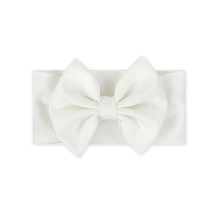 Wide Elastic Bowtie Headband White