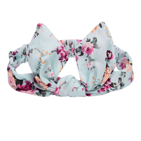 Picture of Elastic Headband With A Flower Print Blue