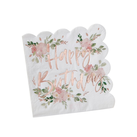 Picture of Happy Birthday Foiled Paper Napkins - Ditsy Floral