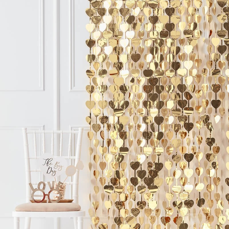Picture of Gold Heart Backdrop Hanging Decoration - Gold Wedding