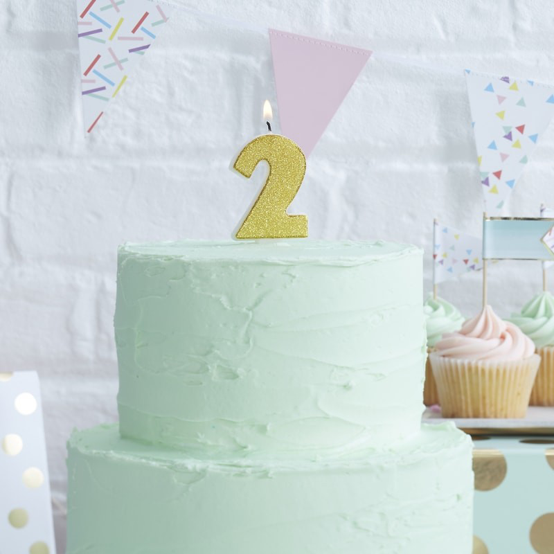 Picture of Gold Glitter 2 Number Candle - Pick And Mix