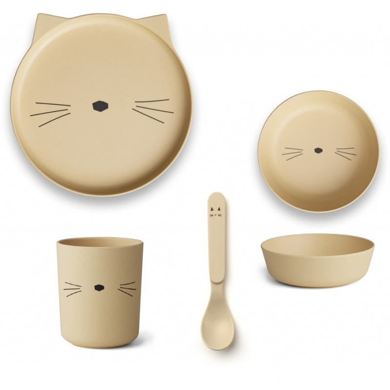 Picture of Liewood®  Bamboo Tableware Box Set - Cat Smoothie Yellow