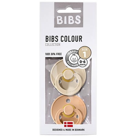 Picture of Bibs® Natural Rubber Baby Pacifier Vanilla & Peach (0-6m)