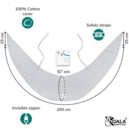 Koala Babycare® Pillowcases for pillow for pregnant women Hug Comfy Grey