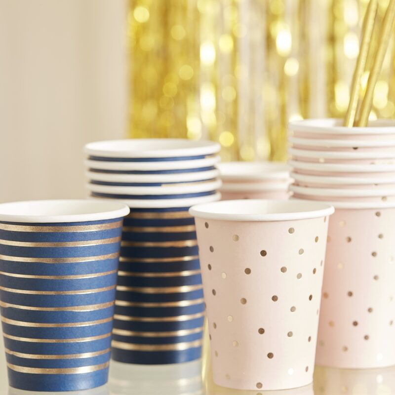 Picture of Ginger Ray® Gold Foiled Pink and Navy Mixed Baby Shower Cups