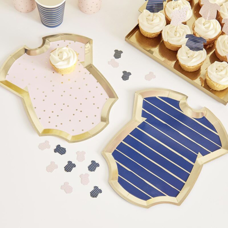Picture of Ginger Ray® Gender Reveal - Pink and Navy Baby Grow Shaped Plates