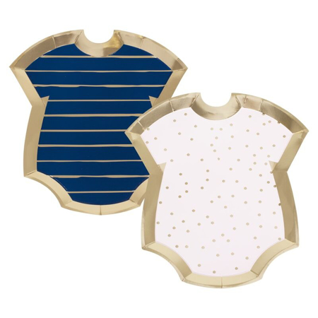 Ginger Ray® Gender Reveal - Pink and Navy Baby Grow Shaped Plates