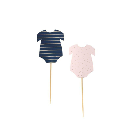 Picture of Ginger Ray® Gender Reveal - Pink and Navy Baby Grow Cupcake Picks