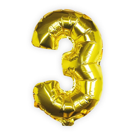 Picture of Ginger Ray® Gold Foil Number 3 Ballon Pick and Mix