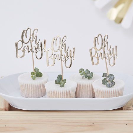 Picture of Ginger Ray® Gold Foiled Oh Baby! Cupcake Toppers Oh Baby!