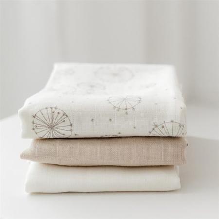 CamCam® Musling Cloth - Mix Dandelion Natural, Light Sand, Creme White 3pack