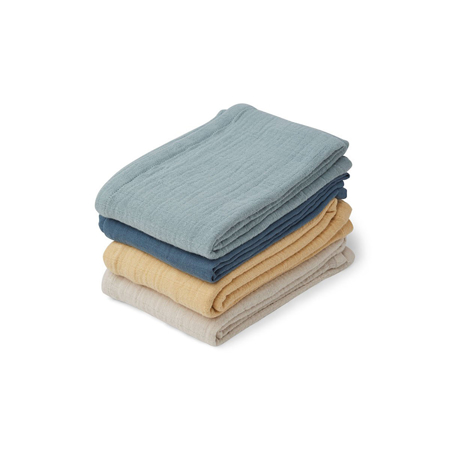 Picture of Liewood® Leon Muslin Cloth 4 Pack - Blue Mix 60x60