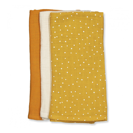 Liewood® Line Muslin Cloth 3 Pack - Confetti Yellow Mellow Mix 60x60