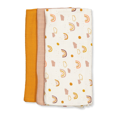 Picture of Liewood® Line Muslin Cloth 3 Pack - Rainbow Love Mix 60x60