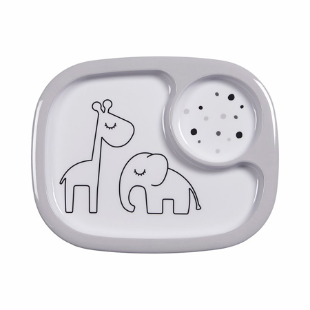 Picture of Done by Deer® Yummy mini compartment plate Dreamy dots Grey