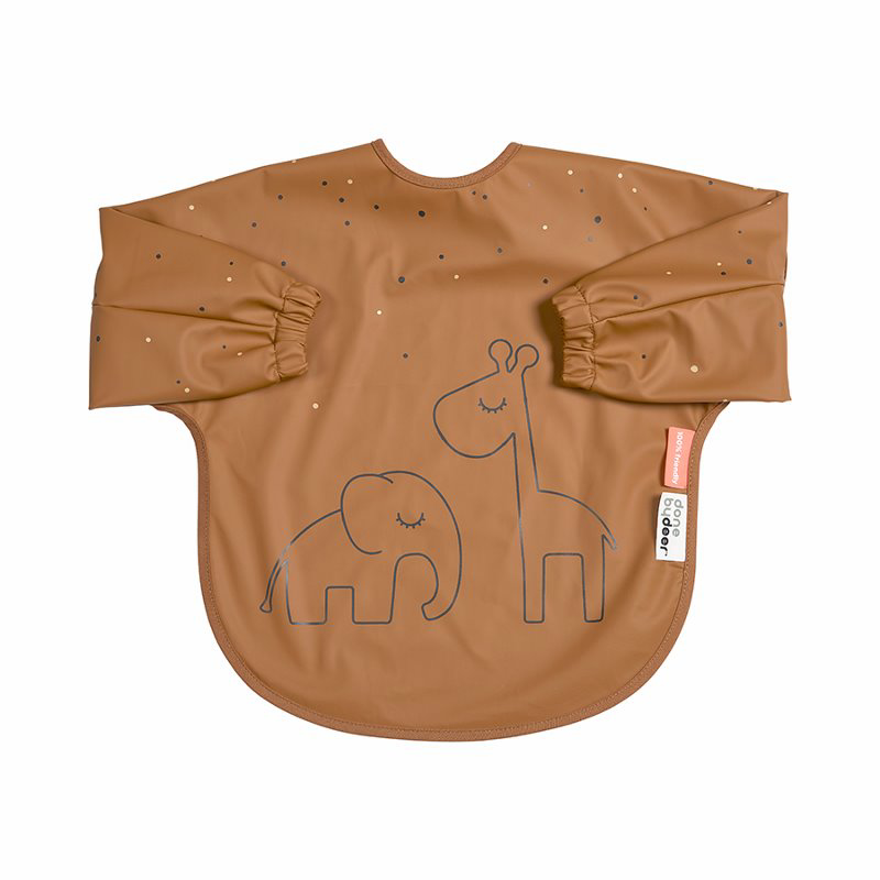 Picture of Done by Deer® Sleeved bib Dreamy dots Mustard 6-18m