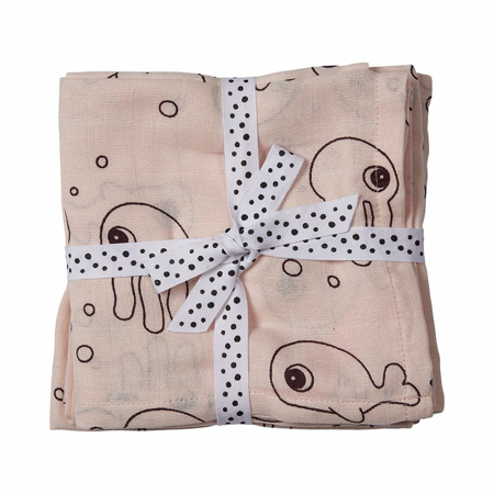 Picture of Done by Deer® Burp cloth, 2-pack, Sea friend Powder 70x70