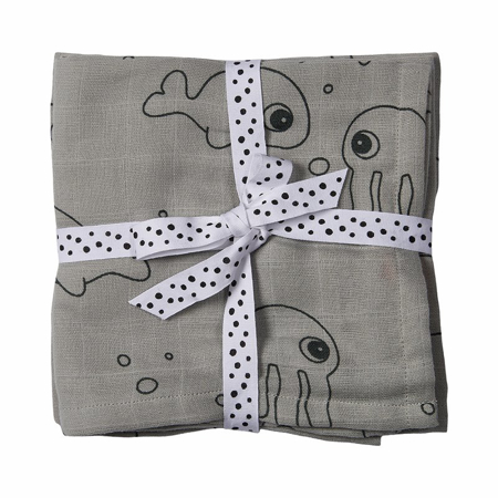 Picture of Done by Deer® Swaddle 2-pack Sea friend Grey 120x120