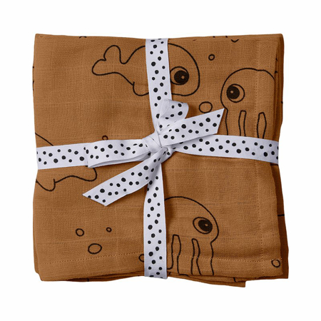 Picture of Done by Deer® Burp cloth, 2-pack, Sea friend Mustard 70x70