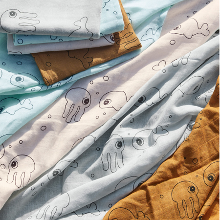 Picture of Done by Deer® Burp cloth, 2-pack, Sea friend Grey 70x70
