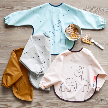 Picture of Done by Deer® Sleeved bib Dreamy dots Grey 18+m