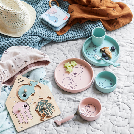 Picture of Done by Deer® Silicone dinner set Sea friends Powder