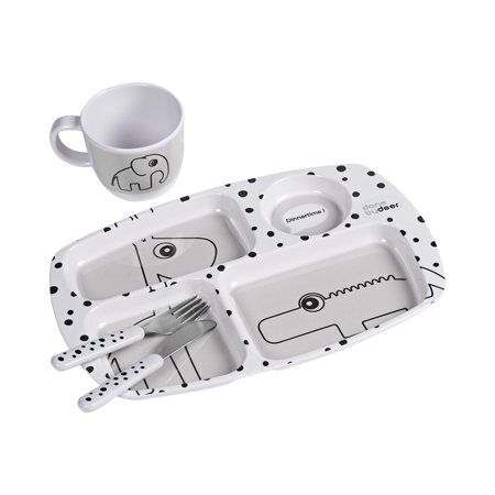 Picture of Done by Deer® Toddler dinner set, Happy dots Grey