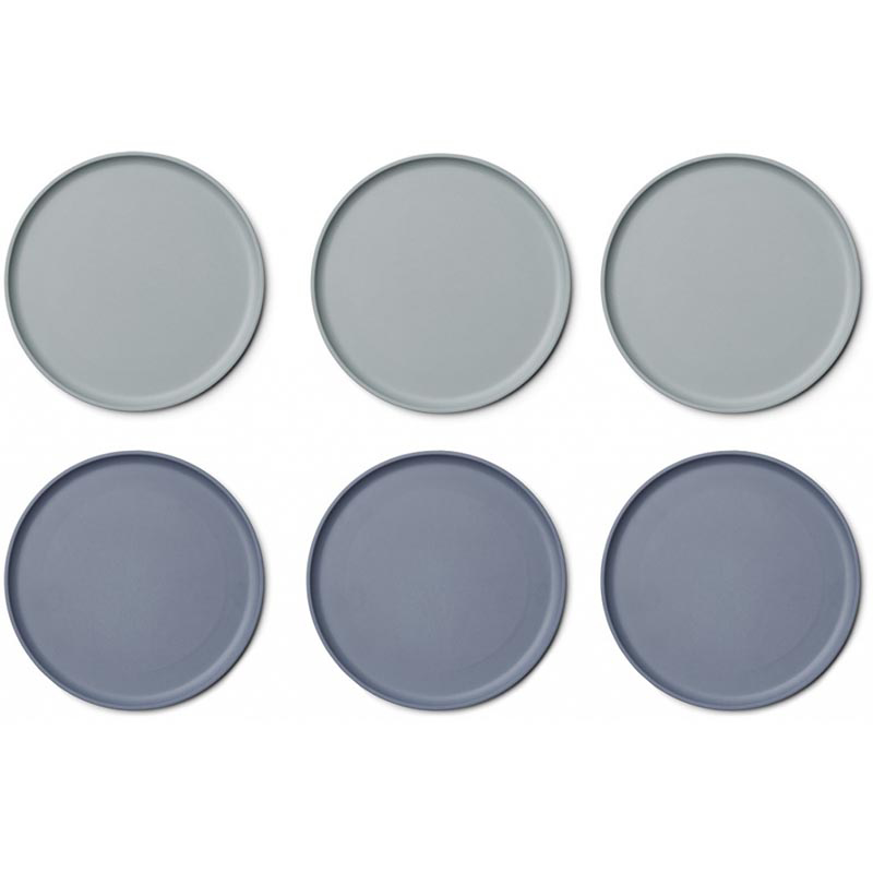 Picture of Liewood® Patrick Bamboo Plates 6 Pack - Blue Mix