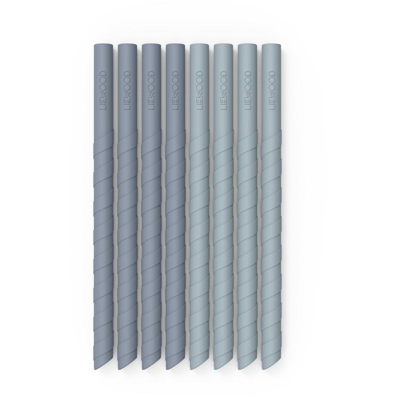 Picture of Liewood® Zoe Silicone Straw Set 8 Pack - Blue mix