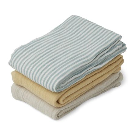 Liewood® Line Muslin Cloth 3 Pack -  Sea blue stripe mix
