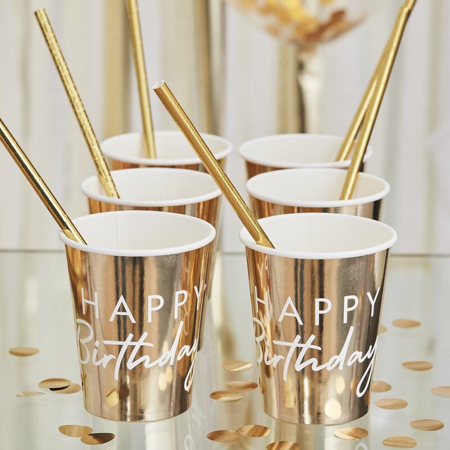 Picture of Ginger Ray® Gold Happy Birthday Party Cups