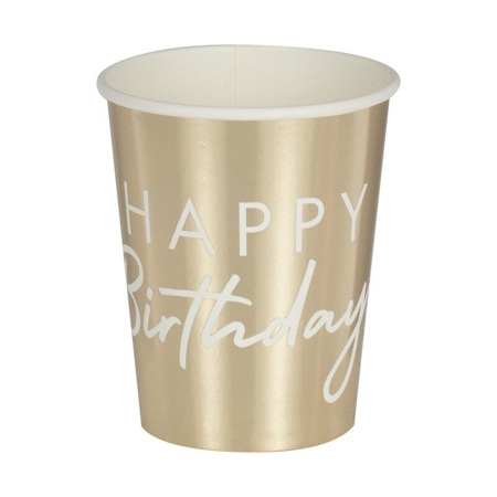 Ginger Ray® Gold Happy Birthday Party Cups
