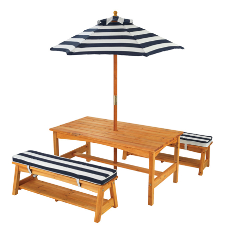 Picture of KidKratft® Outdoor table & Bench set with cushions & Umbrella Blue/White