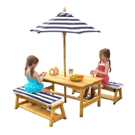 KidKratft® Outdoor table & Bench set with cushions & Umbrella Blue/White