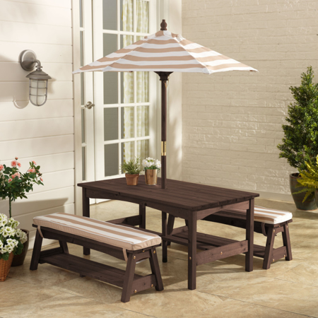 Picture of KidKratft® Outdoor table & Bench set with cushions & Umbrella Pink/White