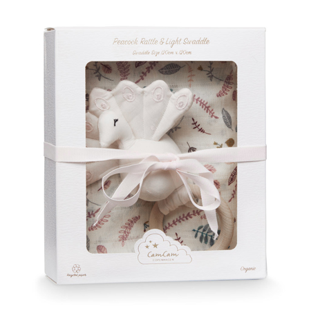 Picture of CamCam® Gift Box w/ Printed Swaddle and Peacock Rattle – OCS Pressed Leaves Rose