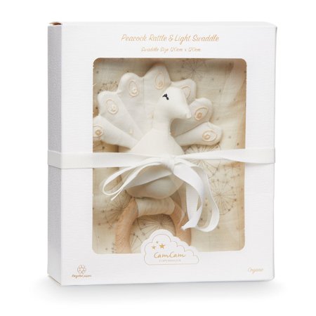 Picture of CamCam® Gift Box w/ Printed Swaddle and Peacock Rattle – OCS Dandelion Natural