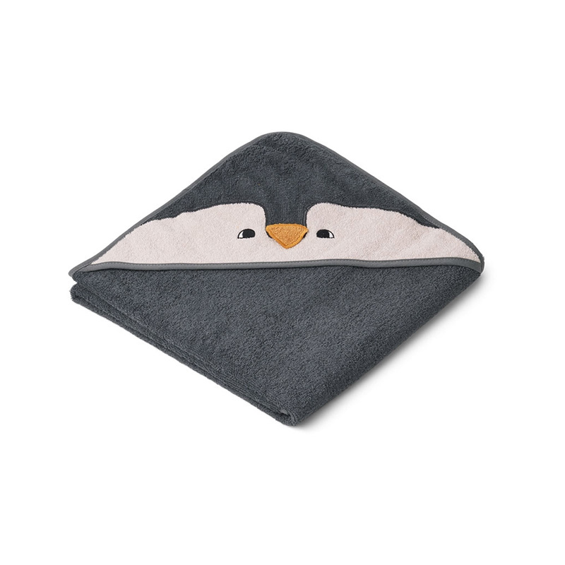 Picture of Liewood® Hooded Towel -  Penguin Stone Grey 100x100